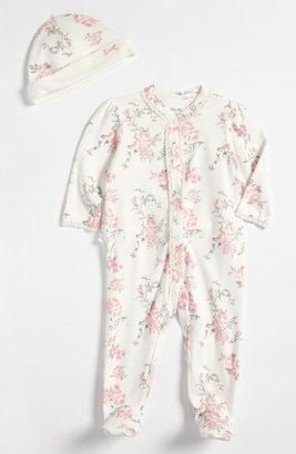 Little Me 'Scroll Rose' Footie & Hat (Baby Girls) Pink Floral 9M