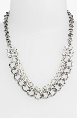 Stephan & Co Chain & Rhinestone Statement Necklace