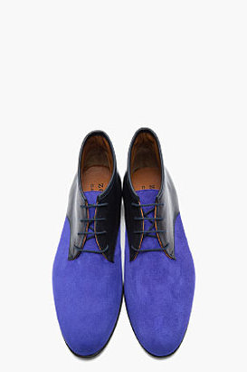 Carven Black & Indigo Two-Tone Leather Chukkas