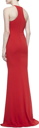 Badgley Mischka Collection Sleeveless Halter-Neck Mermaid Gown, Red