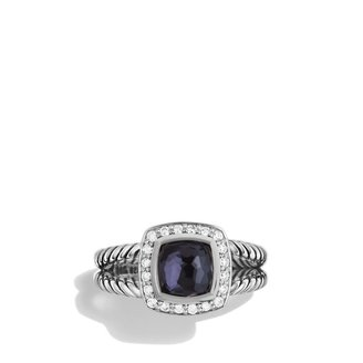 David Yurman Petite Albion Ring with Black Orchid and Diamonds