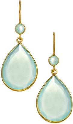 Belair Gold Design belair seafoam chalcedony teardrop earrings