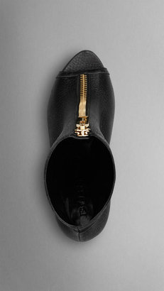 Burberry Zip Detail Peep-Toe Ankle Boots