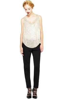 Alice + Olivia Lucy Embellished Silk Trapeze Top