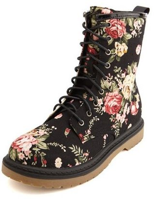 Charlotte Russe Floral Canvas Lace-Up Welt Bootie