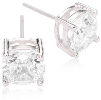 Kenneth Jay Lane CZ by Rhodium-Plated Cushion Cut Cubic Zirconia Stud Earrings