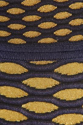 M Missoni Metallic cutout honeycomb-knit mini dress