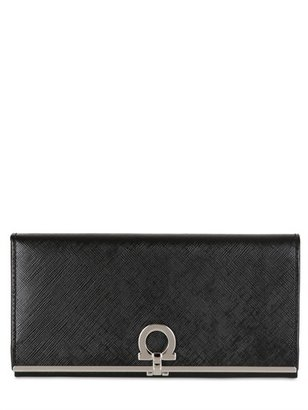 Salvatore Ferragamo Gancini Icon Saffiano Leather Wallet