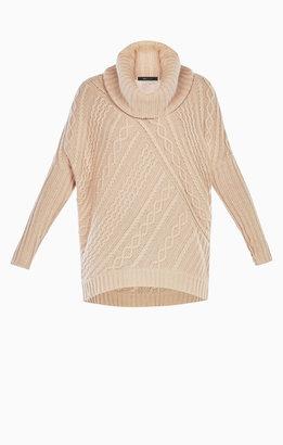 BCBGMAXAZRIA Linden Cowl-Neck Cable-Knit Pullover