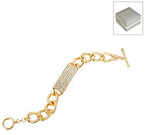 Kenneth Cole Crystal Pave Goldtone Id Toggle Bracelet in a Gift Box