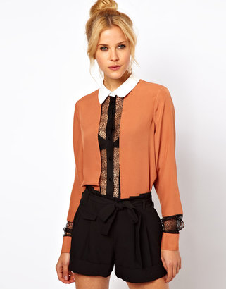 Asos Blouse With Colourblock And Lace Panels