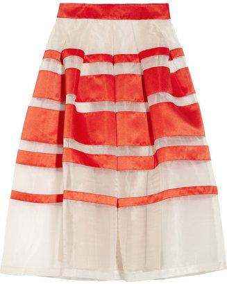 Temperley London Freya striped silk-blend organza and satin skirt