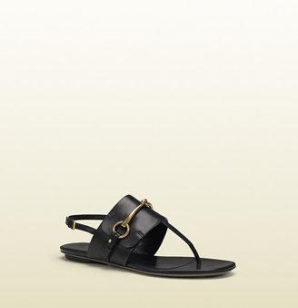 Gucci Ursula Black Leather Thong Sandal