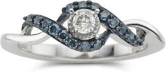 MODERN BRIDE 1/10 CT. T.W. Blue & White Diamond Twist Promise Ring