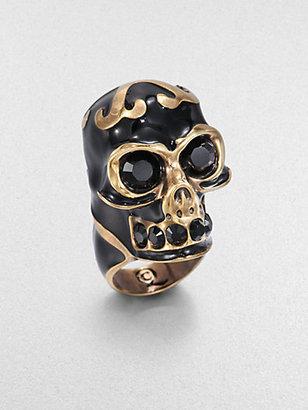 Alexander McQueen Enamel Skull Ring