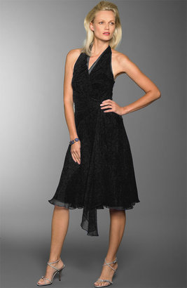 Maggy London Crinkle Silk Chiffon Halter Dress