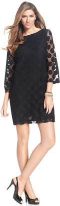 Style&Co. Petite Dress, Bell-Sleeve Polka-Dot Boat-Neck