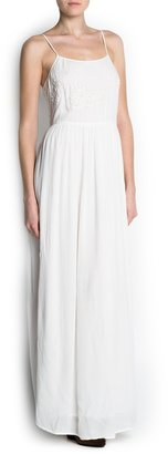 MANGO Guipure embroidered long dress