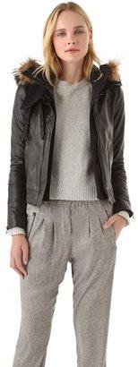 A.L.C. Morris Leather Jacket with Fur Trim