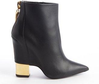 Giuseppe Zanotti Black Leather Goldtone Heel Zipper Detail Ankle Boots