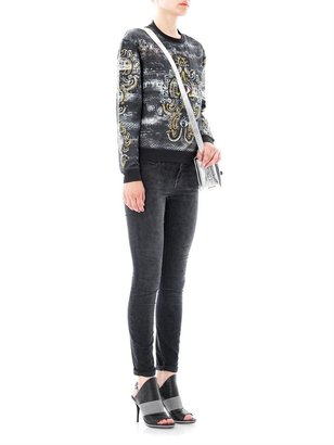 Current/Elliott The ankle skinny mid-rise corduroy leopard jeans