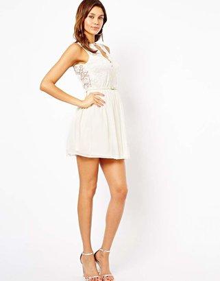 Asos Pretty Belted Skater Dress