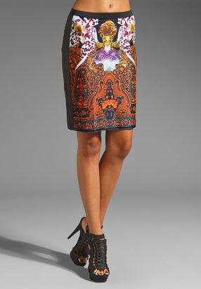Clover Canyon Ombre Paisley Velvet/Leather Skirt