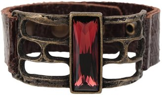 Rebel Designs Burgundy Stone and Leather Bracelet
