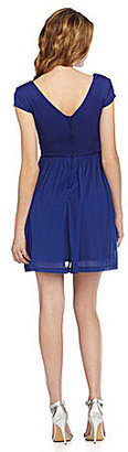 Teeze Me Cap-Sleeve V-Neck Dress