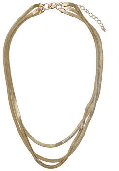 Topshop Flat snake chain multi row necklace
