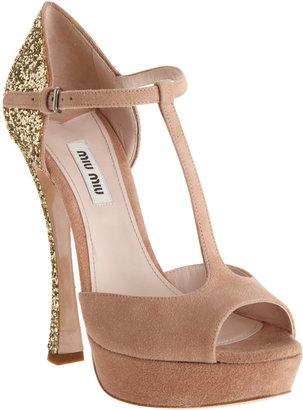 Miu Miu Glitter Heel T-Strap Sandal
