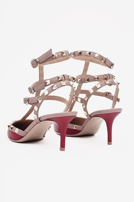 Valentino Rock Studded Ankle Strap Heels - Red