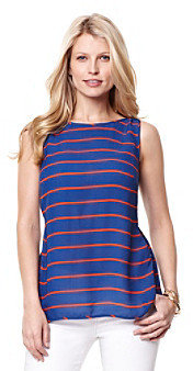 Nautica Pleat Back Striped Blouse