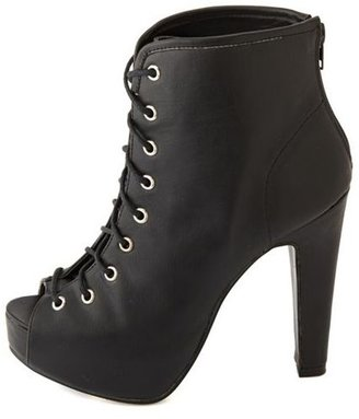 Charlotte Russe Lace-Up Peep Toe Bootie