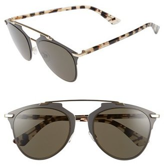 Women's Dior Reflected 52Mm Brow Bar Sunglasses - Brown Havana