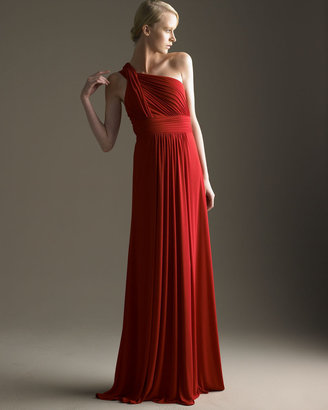 David Meister Signature Gathered One-Shoulder Gown