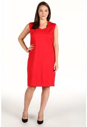 Klein Plus Anne Plus Size Sleeveless Dress w/ Princess Seams (Poppy Red) - Apparel