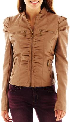 Joujou Jou Jou Ruched Zip-Front Faux-Leather Jacket