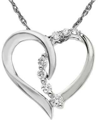 Lord & Taylor 14 Kt. White Gold Diamond Heart Pendant