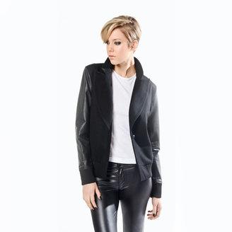 Sarah Scott Leather Varsity Blazer Black