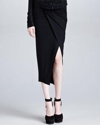 Donna Karan Faux-Wrap Pull-On Skirt