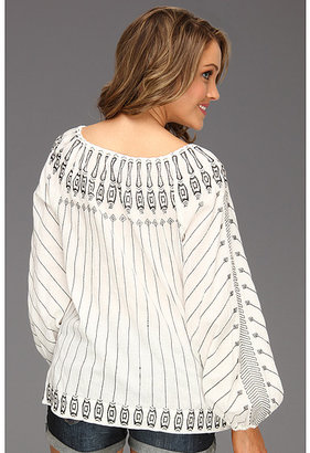 BCBGMAXAZRIA Irina Embroidered Peasant Blouse