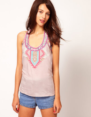Warehouse Aztec Embroidered Tank