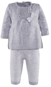 Mayoral Knitted Grey Dress with Striped White and Grey Leggings