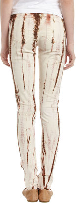 Fade to Blue Tie-Dye Skinny Jeans, Cocoa Brown