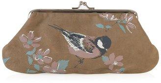 Miss Budd Birdy suede coin purse