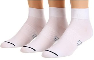 Wrightsock Ultra Thin Qtr 3-Pair Pack (White) Quarter Length Socks Shoes