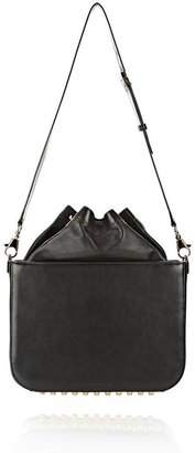 Alexander Wang Flat Bucket Bag In Black With Yellow Gold