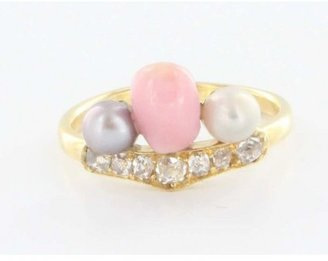 575 Denim very good (VG) Estate Antique Victorian 14k Yellow Gold Conch Pearl Diamond Ring sz