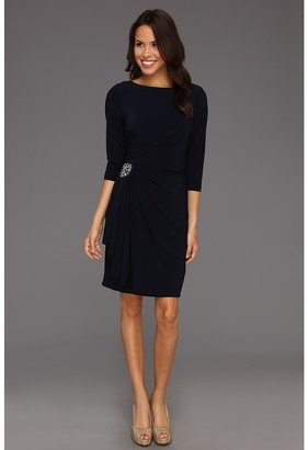 Jessica Howard 3/4 Sleeve Assymmetrical Neck with Side Ruche (Navy) - Apparel